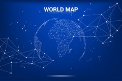 Globe 3D World map wireframe dot connect line polygon : concept of Digital network. 3D world map form dot connect with line , look and feel of futuristic world stock illustration