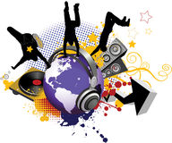 Globe with dancing youth men. Music city Royalty Free Stock Photography