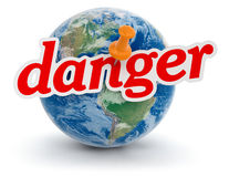 Globe and Danger (clipping path included) Stock Photo