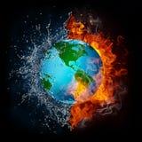 Globe dans la flamme et l'eau illustration stock