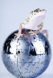 Globe dans le gecko photographie stock