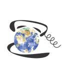 Globe dans le téléphone Photo stock
