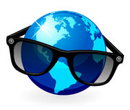 Globe is in dark eyeglasses Stock Image