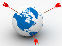 Globe and darts. 3D image. Isolated illustrations Stock Photography