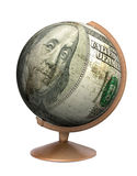 Globe de billet d'un dollar Photographie stock libre de droits