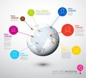 Globe de carte du monde avec des marques d'indicateur d'utilisateur Images stock