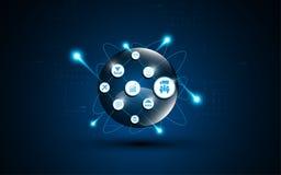 Globe de Digital avec le concept d'innovation de télécommunication d'icône d'IOT Photographie stock