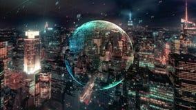 Globe de données numériques La terre environnante scientifique de planète de réseau informatique de technologie donnant la connec illustration libre de droits