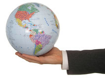 Globe de fixation de la main de l'homme d'affaires images stock