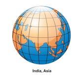 Globe de l'Inde et de l'Asie Photographie stock libre de droits