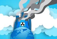 Globe de la terre au-dessus d'usine ou d'usine nucléaire avec fumer Tow And Pipe Background Photos stock