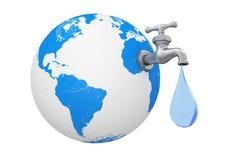 Globe de la terre avec le robinet d'eau et la baisse de l'eau rendu 3d illustration libre de droits