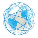 Globe de la terre ceinturé avec les anneaux bleus illustration stock