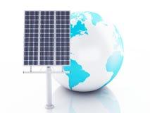 globe de la terre 3d blanc d'isolement par énergie d'eco de concept de fond Photos stock