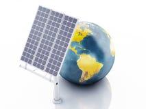 globe de la terre 3d blanc d'isolement par énergie d'eco de concept de fond Images libres de droits