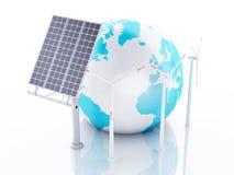 globe de la terre 3d blanc d'isolement par énergie d'eco de concept de fond Image libre de droits
