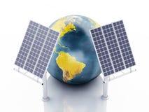 globe de la terre 3d blanc d'isolement par énergie d'eco de concept de fond Images stock