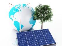globe de la terre 3d blanc d'isolement par énergie d'eco de concept de fond Photo stock