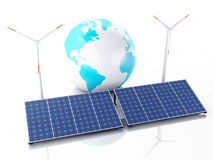 globe de la terre 3d blanc d'isolement par énergie d'eco de concept de fond Photos libres de droits