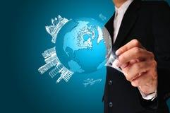 Globe de la terre de dessin d'homme d'affaires Photos libres de droits