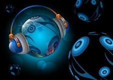 Globe de musique avec l'écouteur Photos libres de droits