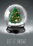 Globe de neige avec l'arbre de Noël à l'intérieur Photos stock
