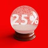 Globe de neige avec le titre de remise de 25 pour cent à l'intérieur Photo stock