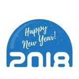 Globe de neige avec les flocons de neige et l'inscription - bonne année 2018 Photos stock