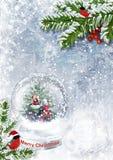 Globe de neige avec Santa sur le fond de gel Photographie stock libre de droits