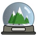 Globe de neige avec trois arbres de Noël Photographie stock