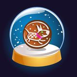 Globe de neige avec un symbole de chien de l'intérieur 2018 Boule de magie de Noël Illustration de Snowglobe L'hiver dans la boul Photographie stock libre de droits