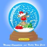 Globe de neige de Noël de vecteur : cerfs communs dans le chapeau de Santa avec de grands cadeaux de sac sur le fond bleu de grad illustration libre de droits