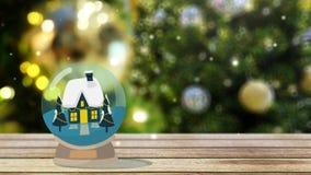 Globe de neige de maison d'hiver chutes de neige et arbre de Noël avec l'éclairage au fond avec l'espace de copie illustration de vecteur