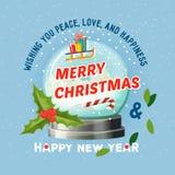 Globe de neige pendant le Joyeux Noël 2018 et la nouvelle année illustration libre de droits