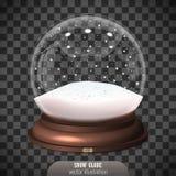 Globe de neige sur le fond transparent Joyeux Noël et heureux Image libre de droits
