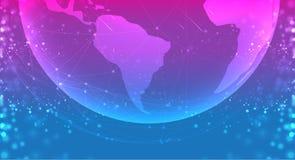 Globe de planète de la terre dans le bleu pourpre de l'espace les systèmes de connexions rayent la composition autour du concept  illustration libre de droits