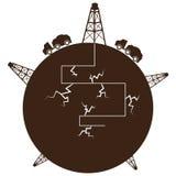 Globe de processus de Fracking Image libre de droits