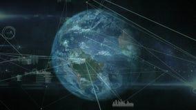 Globe de rotation contre des connexions de données et des barres saines illustration libre de droits
