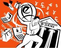 Globe de transport de commerce électronique d'homme Photographie stock libre de droits