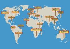 Globe de vecteur avec des destinations illustration libre de droits