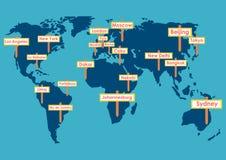 Globe de vecteur avec des destinations illustration stock