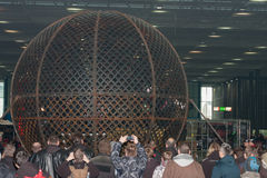 Globe of death, steel cage during stunt show Stock Images
