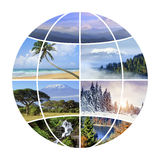 Globe design with photographs nature Stock Photos