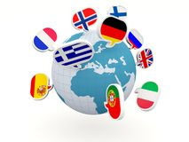 Globe with different flags Stock Photography