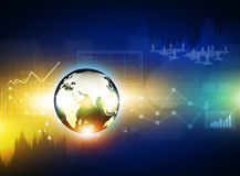 Globe on digital technology background Stock Photo