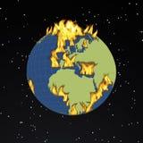 Globe. Digital visualization of a burning globe Royalty Free Stock Photos