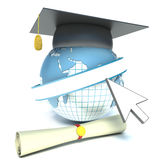 Globe, diploma and mortar board. education Stock Photos