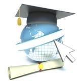Globe, diploma and mortar board. education.  Stock Photos
