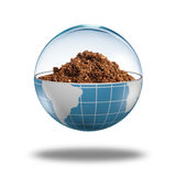 Globe with dirt inside Royalty Free Stock Images