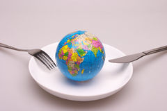 A globe in dish. A globe in a white dish,look like will be eaten Royalty Free Stock Photography